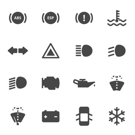 Vector Black car dashboard icons set on white background Illustration