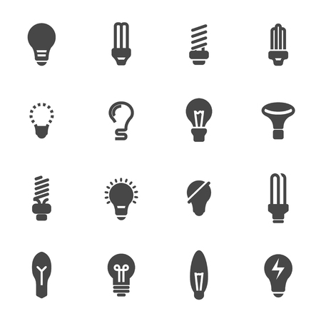 invent: Vector black bulbs icons set on white background