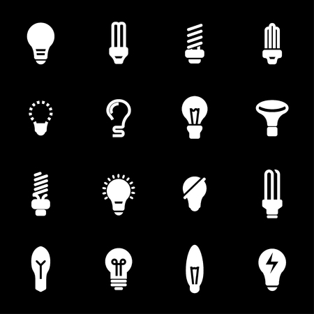Vector white bulbs icons set on black background Ilustração