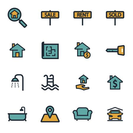 condo: Vector flat real estate icons set on white background Illustration