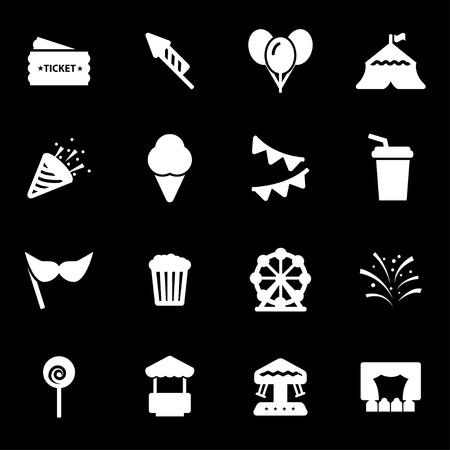 Vector white carnival icons set on black background. Illustration