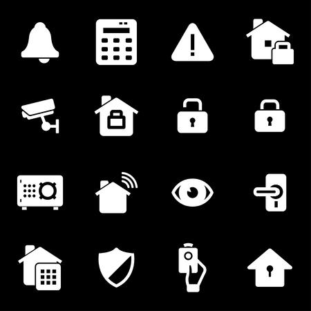 dog: Vector white home security icons set on black background Illustration