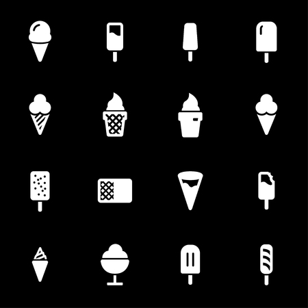Vector white ice cream icons set on black background