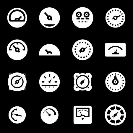 Vector white meter icons set on black background Illustration