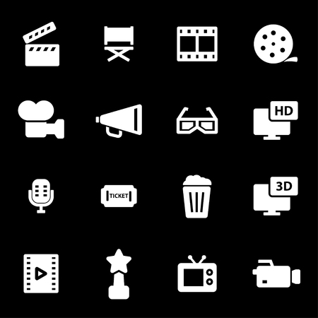 Vector white movie icons set on black background