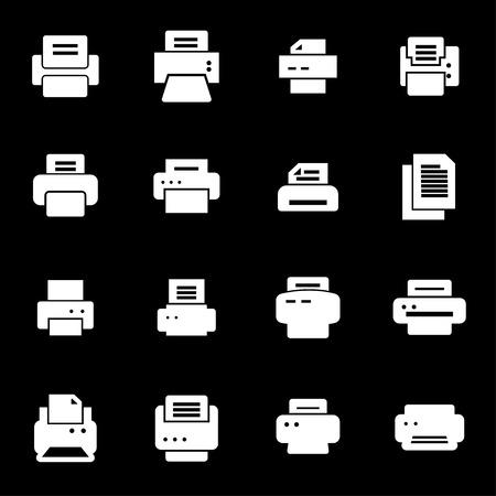 Vector white printer icons set on black background