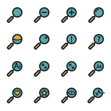 seeking: Vector flat magnifying glass icons set on white background