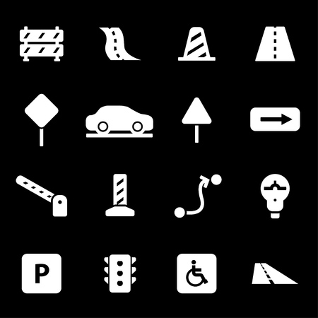 Vector white road icons set