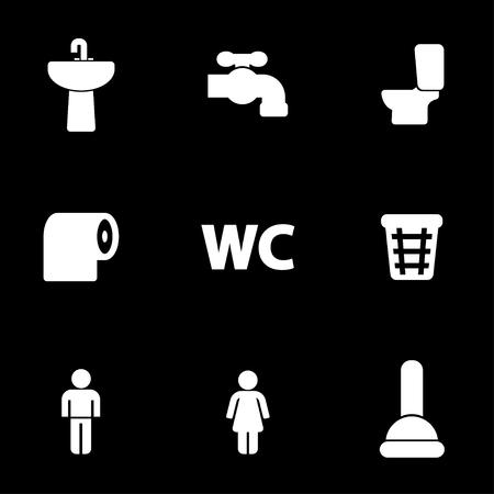 Vector white toilet icons set on black background