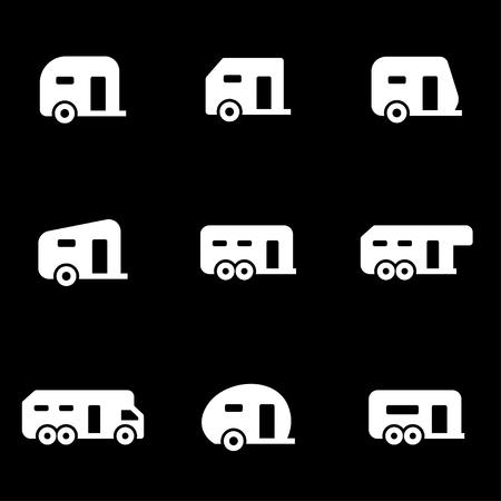 Vector white trailer icons set on black background
