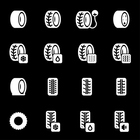Vector white tire icons set on black background