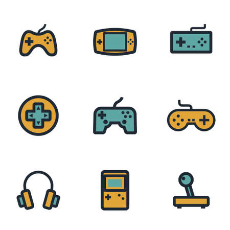 handheld device: Vector flat video game icons set on white background