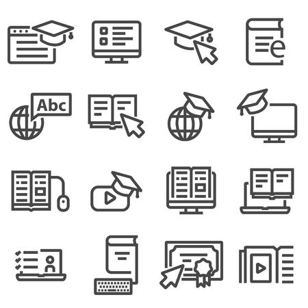 Online-Bildung-Symbole. Video-Tutorials, Schulungen Standard-Bild - 87226988