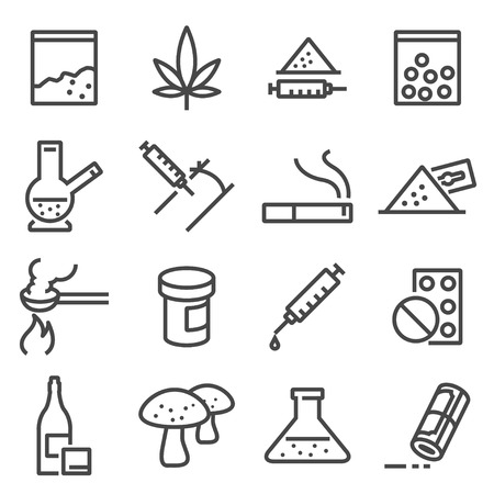 Drugs line icons. Contains such icons as marijuana, cocaine, heroin, LSD extasy