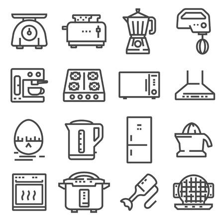 Vector Kitchen Appliances Line Icons Set on White background