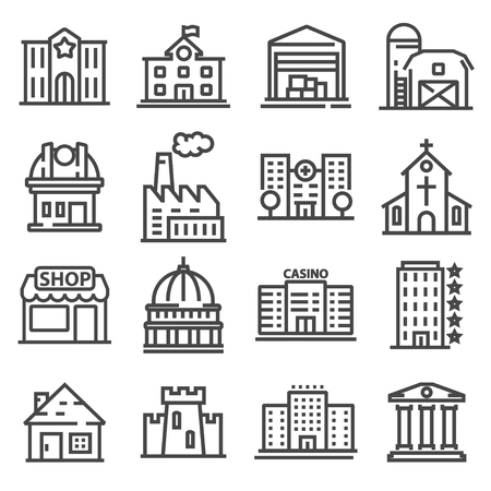Set of public, government and commercial city buildings and institutions Vector illustration
