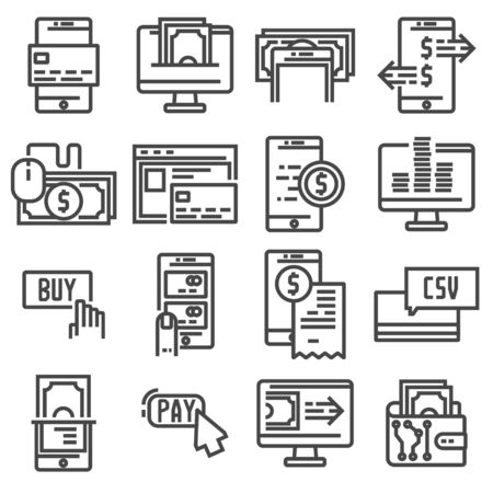 Pay on line and mobile banking icons, thin line. Vector illus Ilustração