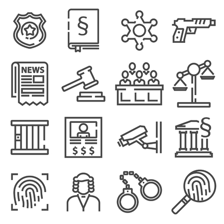 Law and justice icon set. Black and white flat line signs.