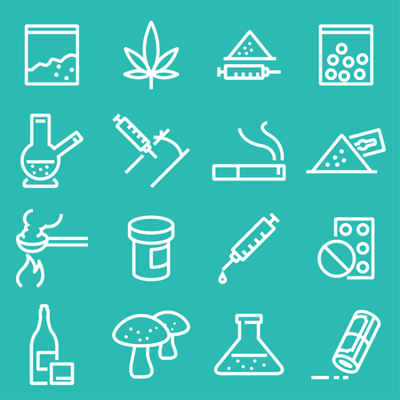 Vector drugs icons set. Line white icons