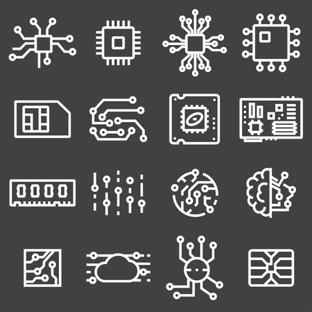 Simple Set of Computer Chips Related Vector Icons on Gray Background Illustration