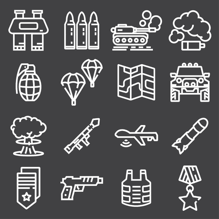 Military and war icons. Army icons universal set for web and mobile.
