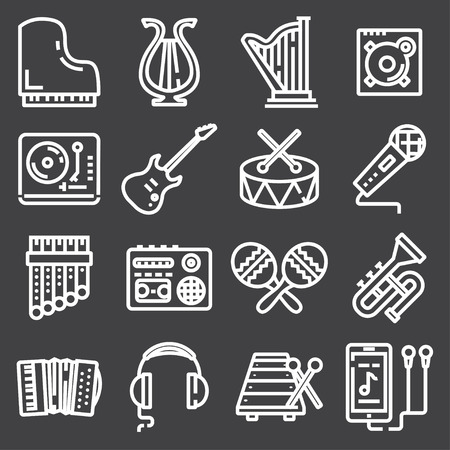 Simple Set of Music Related Vector Line Icons. Contains such Icons as Guitar, Treble Clef, In-ear Headphones, Trumpet and more.