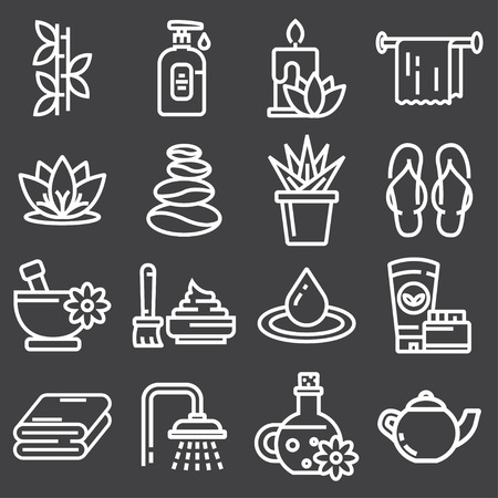 Vector Outline web icon set - Spa and Beauty