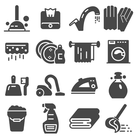 Cleaning service, icon set, services for cleaning and laundry in various rooms. Icons for the website