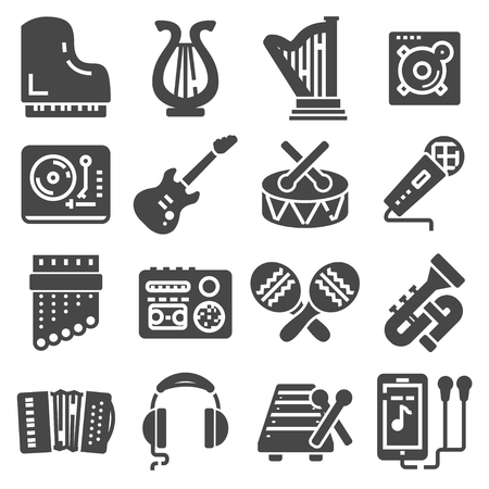 Simple Set of Music Related Vector Icons. Contains such Icons as Guitar, Treble Clef, In-ear Headphones, Trumpet Illustration