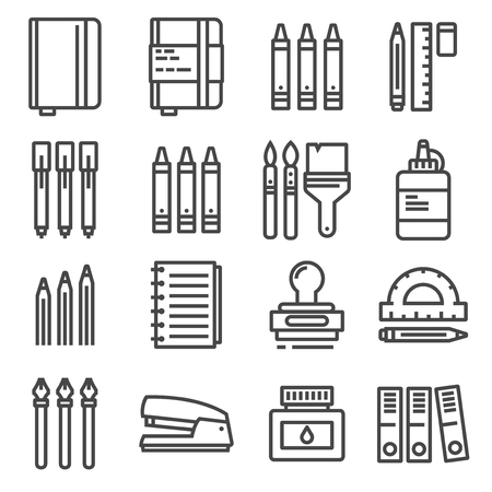 Vector Office things, thin line icons set. Notebook, crayons, markers, brushes, stamp ruler and more