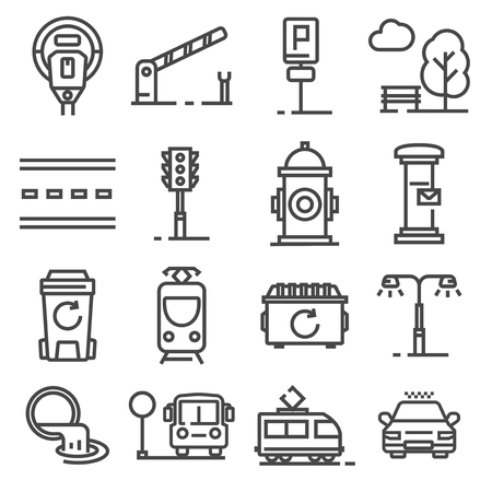 Vector line city amenities icons set. Park, parking meter, barrier, post box, traffic light and more