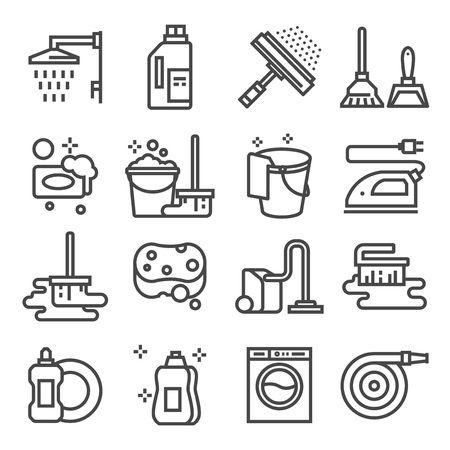 Cleaning service, icon set, services for cleaning and laundry in various rooms