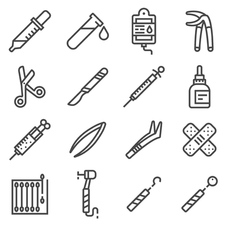 Vector line Medical Equipment and Supplies Icons Set. Medical Grapple, Dropper, Scaler, Perfusion, Dental Drill, Medical Scrissors, Syringe, Scalpel, Tweezer and more 일러스트