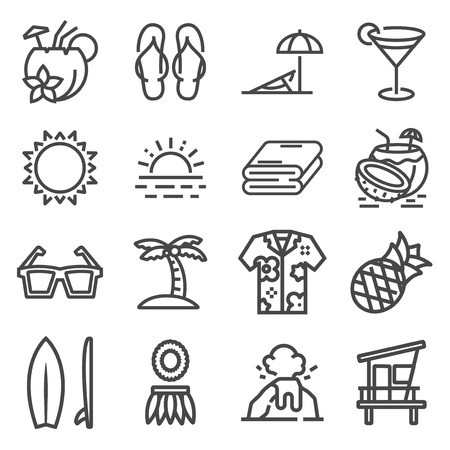 Vector Tropical summer, hawaii icon set with white background