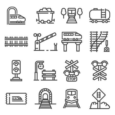 Vector train and railways icon set. Illustration