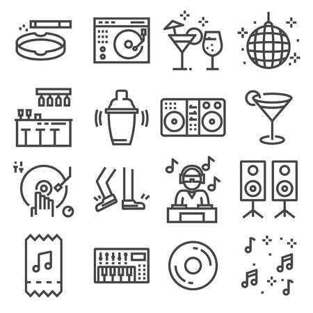 Set of dancing, dj, music, disco vector line icons on white background