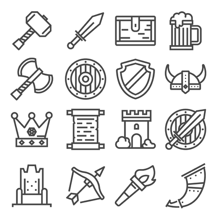 Knight medieval history vector icons set. Middle ages warrior weapons. Standard-Bild - 128505721