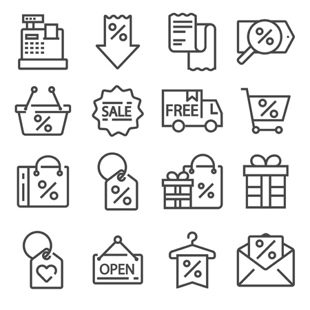 Modern flat icons set of business or black friday. Bag, shopping, credit card, discounts, shopping cart, delivery.