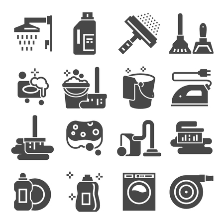 Cleaning gray icons set. Laundry, Sponge and Vacuum cleaner signs. Washing machine. Vector illustrations Vector Illustratie