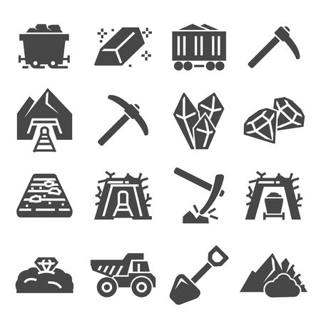 Coal mining factory industry icons set. Style stock vector