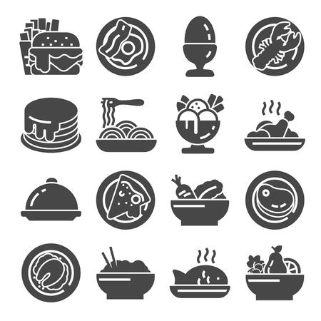 Ilustraciones vectoriales Conjunto de iconos de alimentos