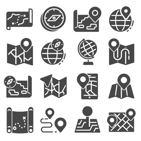 Map Icons and Location Icons with White Background 向量圖像