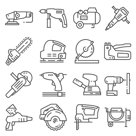 Electrical work tools vector icons for web design isolated on white background