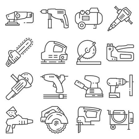 Strumenti di lavoro elettrici icone vettoriali per il web design isolato su sfondo bianco Vettoriali