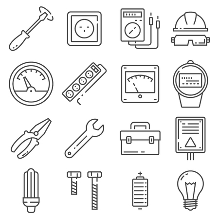Vector Electricity outline icons on white background