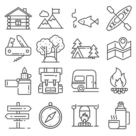 Leisure and outdoor recreation activities icon set.