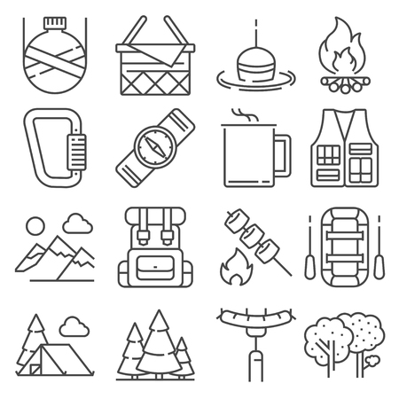 Line Camping and outdoor recreation icons set on white background Ilustracja
