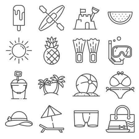 Summer icons gray thin line set on white background