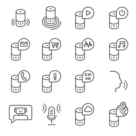 Smart speaker and virtual assistant. Vector icon set in outline style