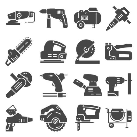 Electrical work tools vector icons set